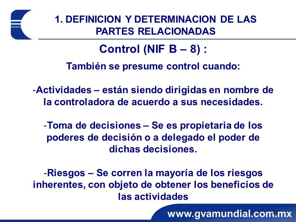 1. DEFINICION Y DETERMINACION DE LAS PARTES RELACIONADAS