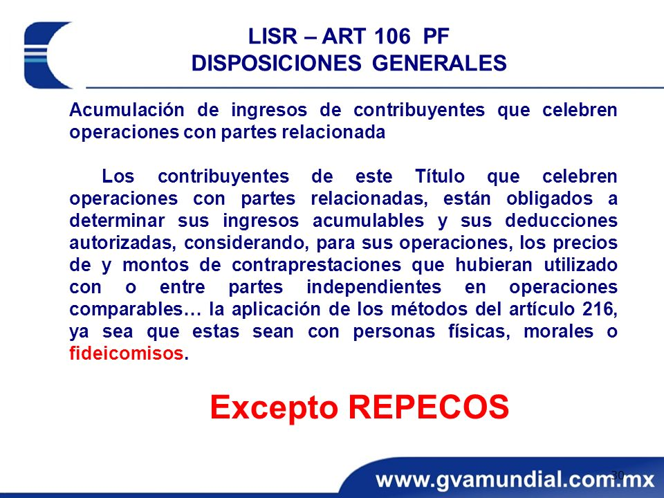 LISR – ART 106 PF DISPOSICIONES GENERALES
