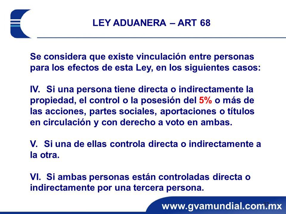 LEY ADUANERA – ART 68 Se considera que existe vinculación entre personas para los efectos de esta Ley, en los siguientes casos: