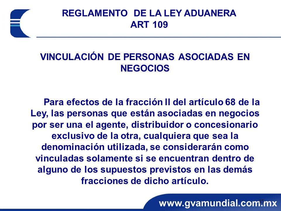 REGLAMENTO DE LA LEY ADUANERA ART 109