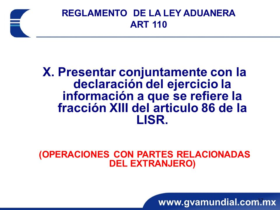REGLAMENTO DE LA LEY ADUANERA