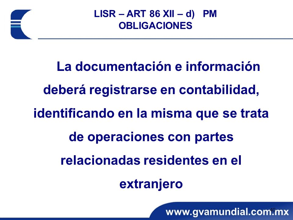 LISR – ART 86 XII – d) PM OBLIGACIONES.