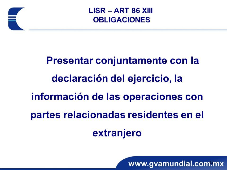 LISR – ART 86 XIII OBLIGACIONES