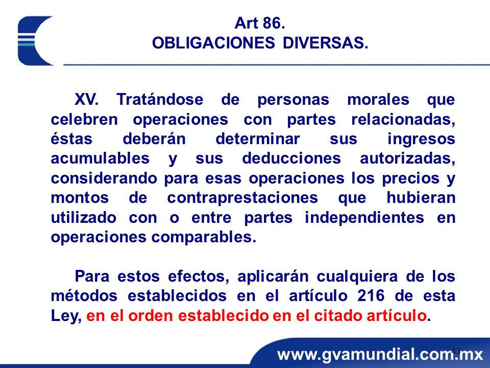 Art 86. OBLIGACIONES DIVERSAS.