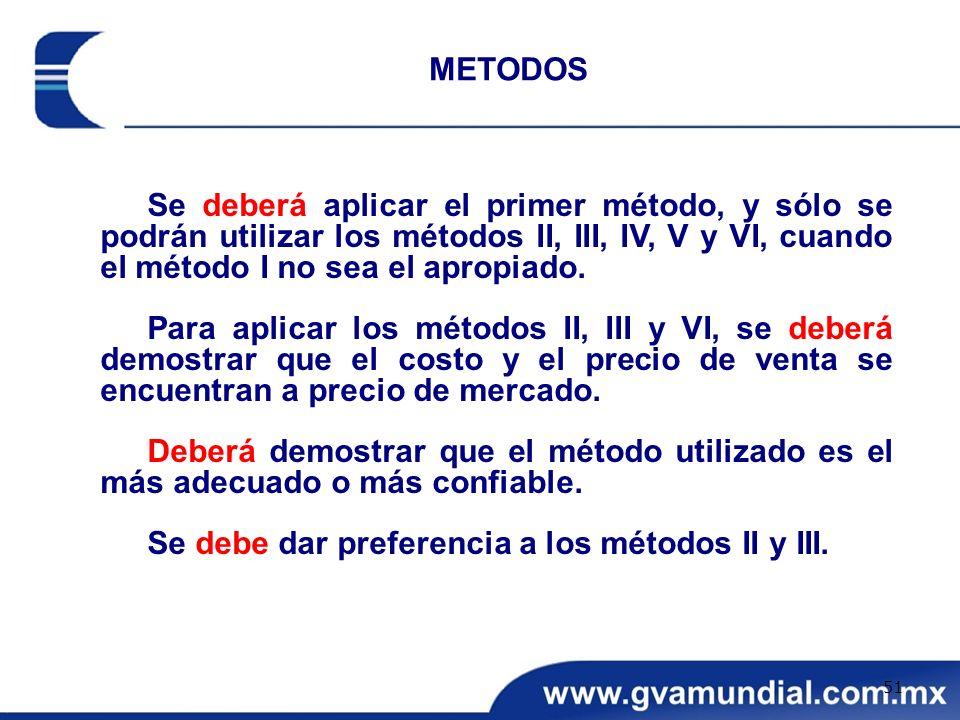 METODOS Se deberá aplicar el primer método, y sólo se podrán utilizar los métodos II, III, IV, V y VI, cuando el método I no sea el apropiado.