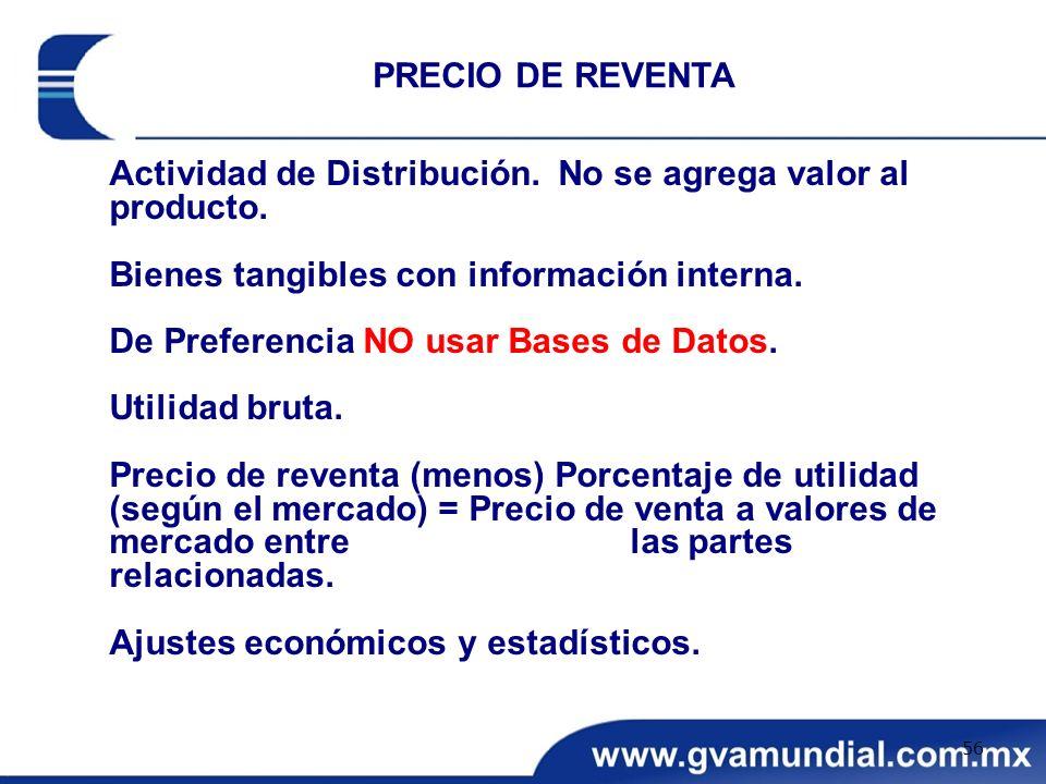 PRECIO DE REVENTA Actividad de Distribución. No se agrega valor al producto. Bienes tangibles con información interna.