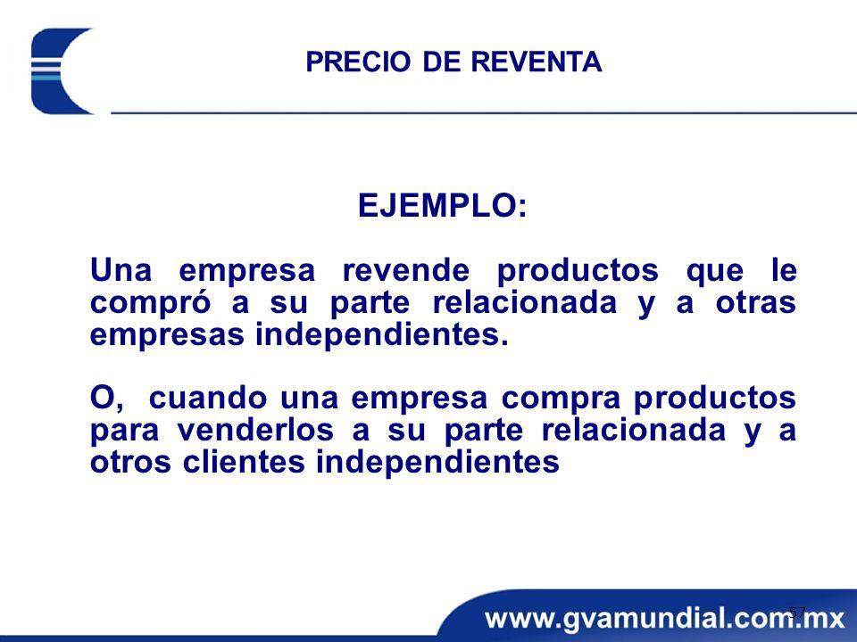 PRECIO DE REVENTA EJEMPLO: Una empresa revende productos que le compró a su parte relacionada y a otras empresas independientes.