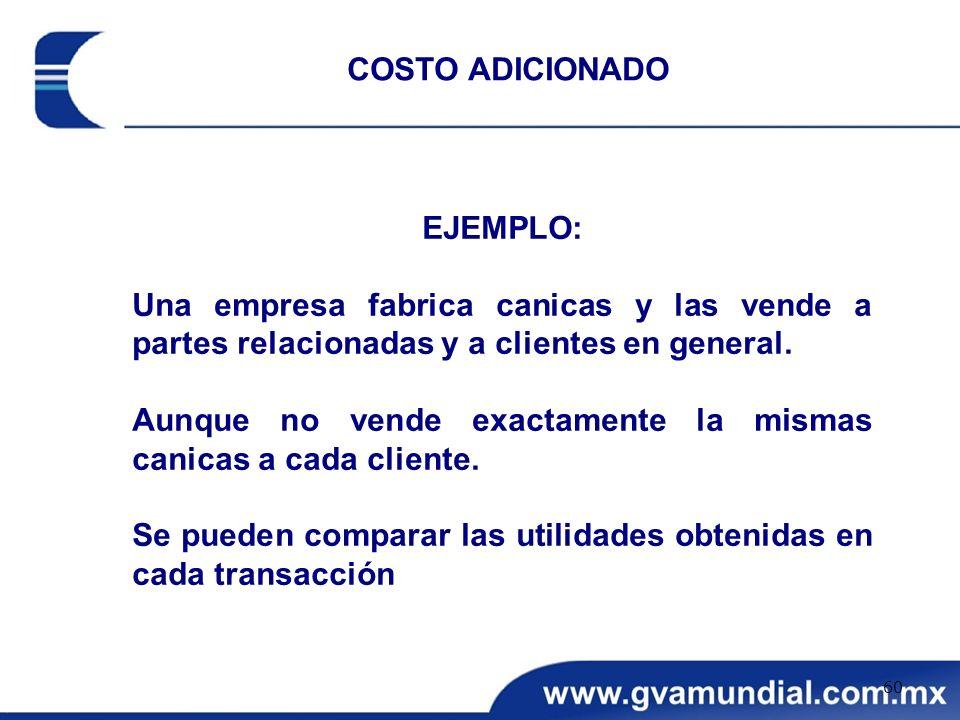 COSTO ADICIONADO EJEMPLO: Una empresa fabrica canicas y las vende a partes relacionadas y a clientes en general.