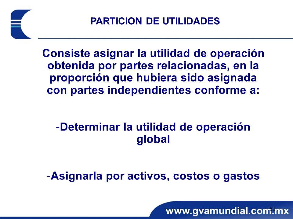 Determinar la utilidad de operación global