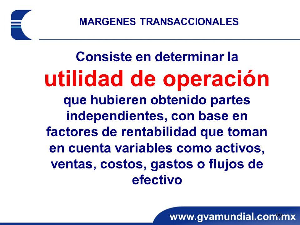 MARGENES TRANSACCIONALES Consiste en determinar la