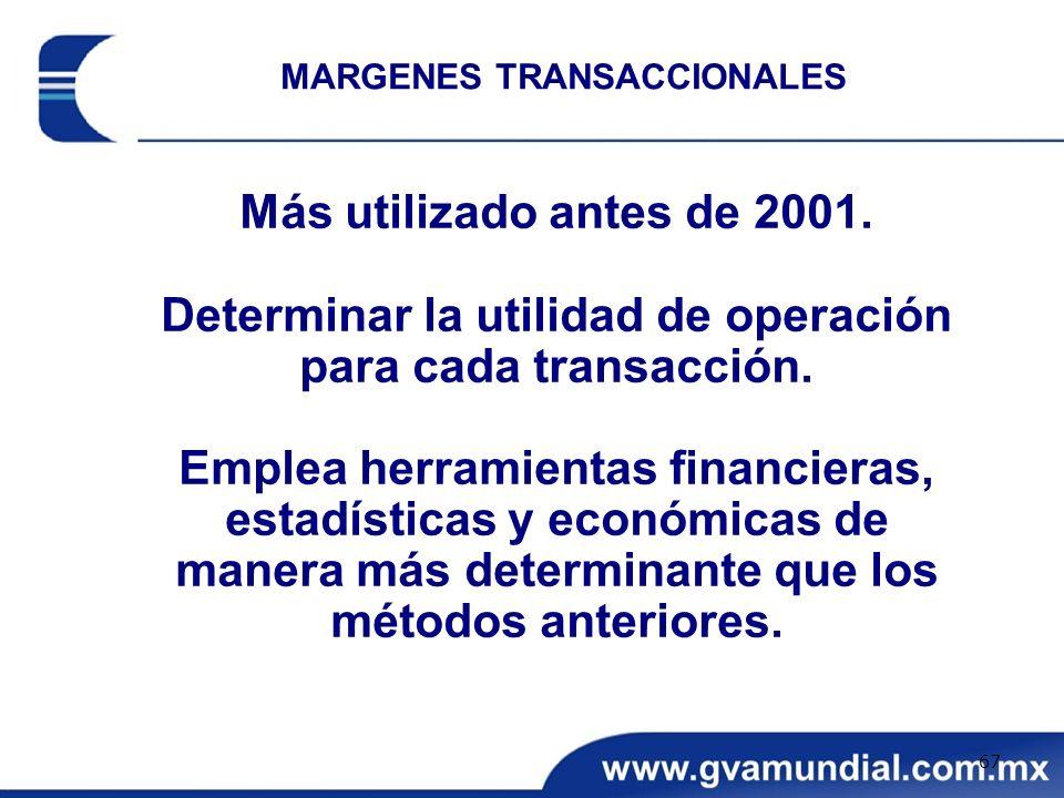 Determinar la utilidad de operación para cada transacción.