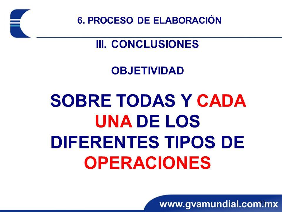SOBRE TODAS Y CADA UNA DE LOS DIFERENTES TIPOS DE OPERACIONES