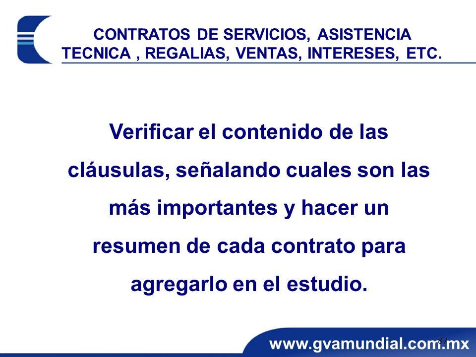 CONTRATOS DE SERVICIOS, ASISTENCIA TECNICA , REGALIAS, VENTAS, INTERESES, ETC.