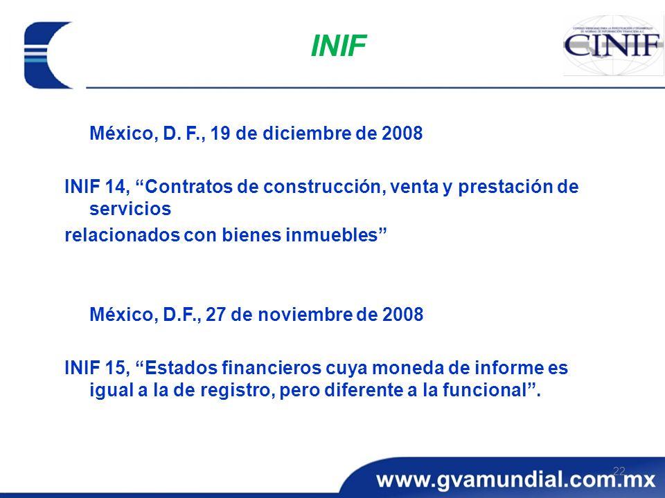 INIF México, D. F., 19 de diciembre de 2008