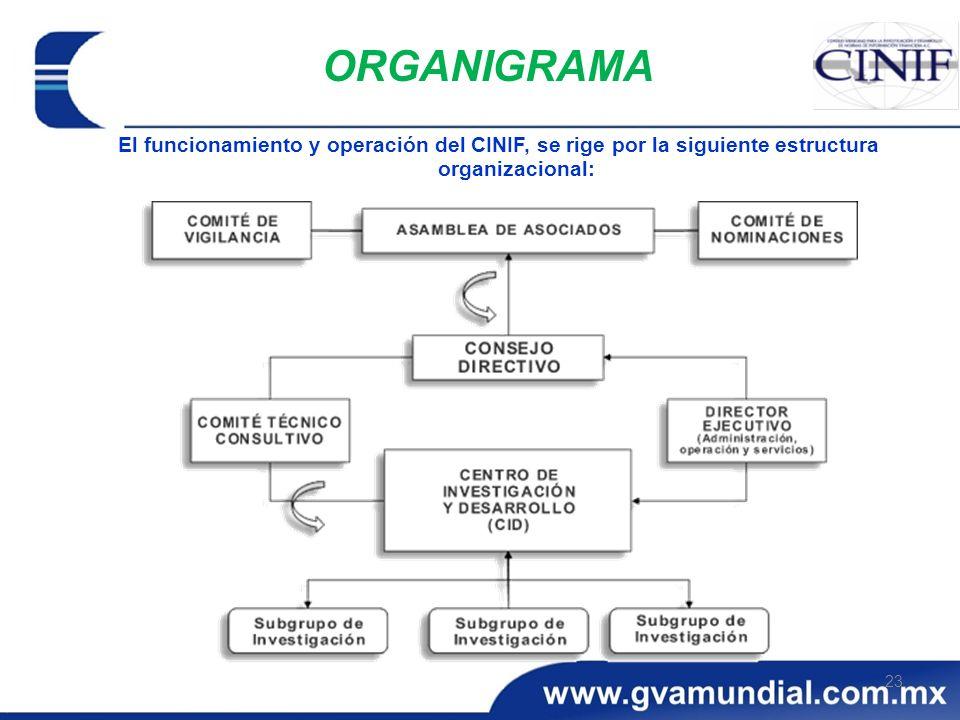 ORGANIGRAMA El funcionamiento y operación del CINIF, se rige por la siguiente estructura organizacional:
