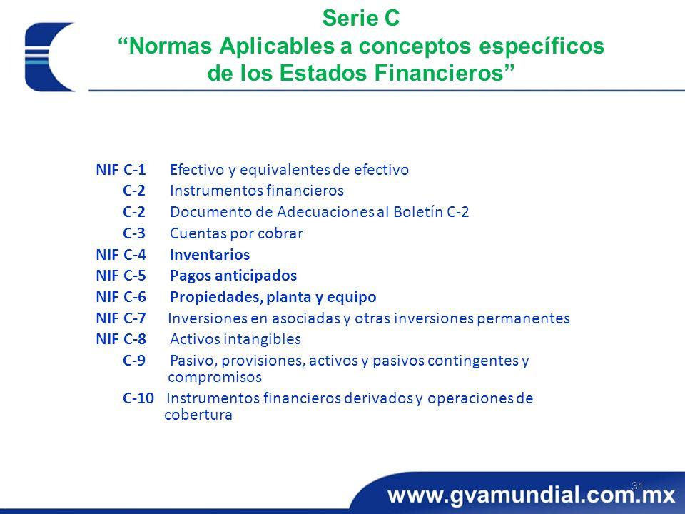 Serie C Normas Aplicables a conceptos específicos de los Estados Financieros