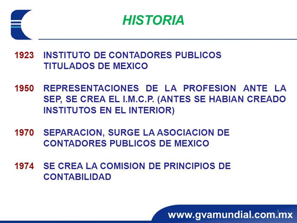 HISTORIA 1923 INSTITUTO DE CONTADORES PUBLICOS TITULADOS DE MEXICO