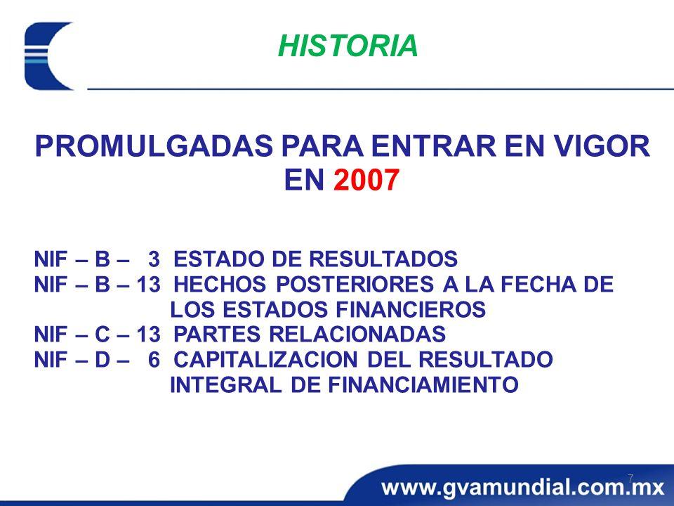 PROMULGADAS PARA ENTRAR EN VIGOR EN 2007