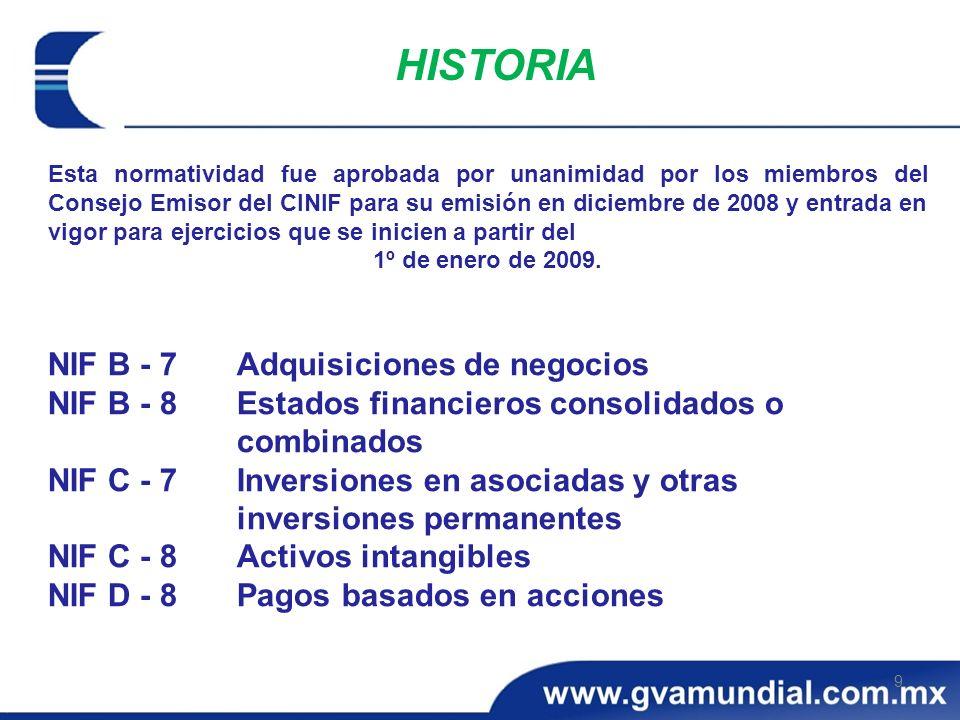 HISTORIA NIF B - 7 Adquisiciones de negocios