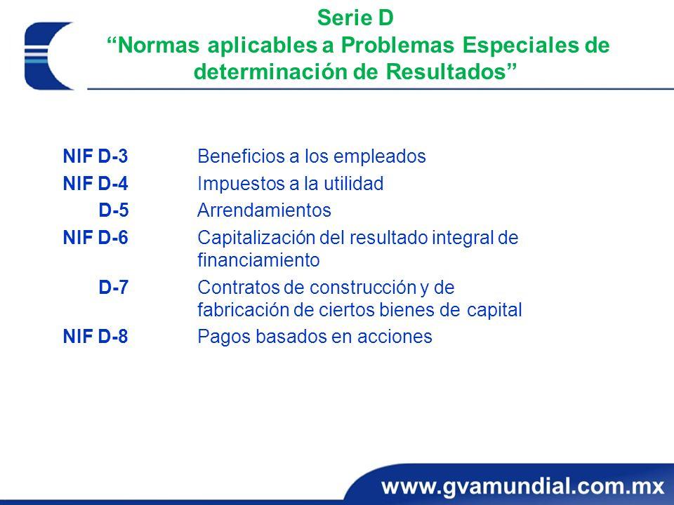 Serie D Normas aplicables a Problemas Especiales de determinación de Resultados