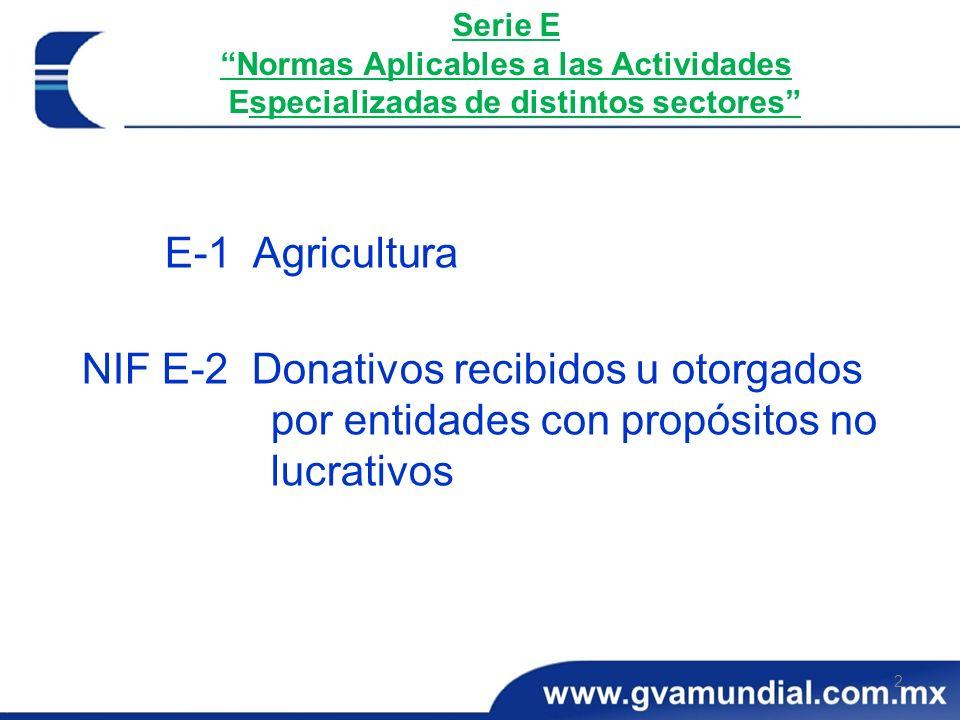 Serie E Normas Aplicables a las Actividades Especializadas de distintos sectores