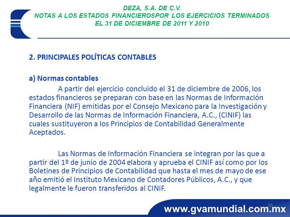 2. PRINCIPALES POLÍTICAS CONTABLES a) Normas contables