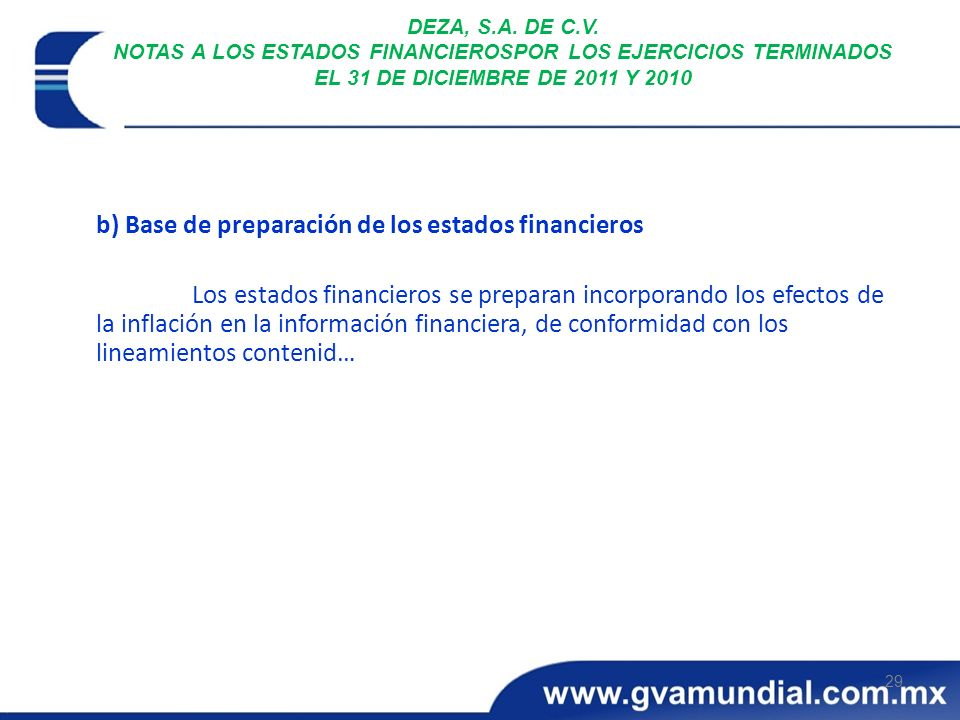 b) Base de preparación de los estados financieros