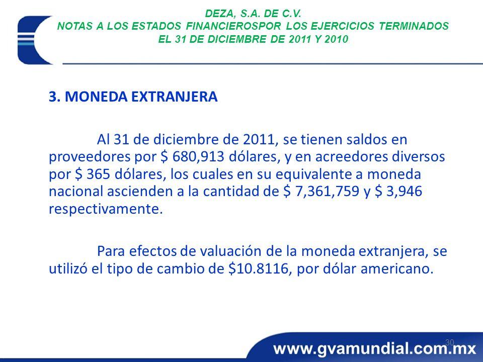 DEZA, S.A. DE C.V. NOTAS A LOS ESTADOS FINANCIEROSPOR LOS EJERCICIOS TERMINADOS EL 31 DE DICIEMBRE DE 2011 Y 2010