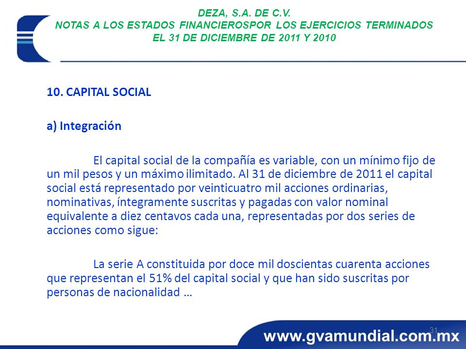 10. CAPITAL SOCIAL a) Integración