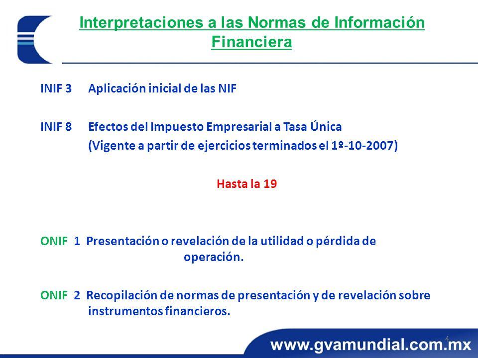 Interpretaciones a las Normas de Información Financiera