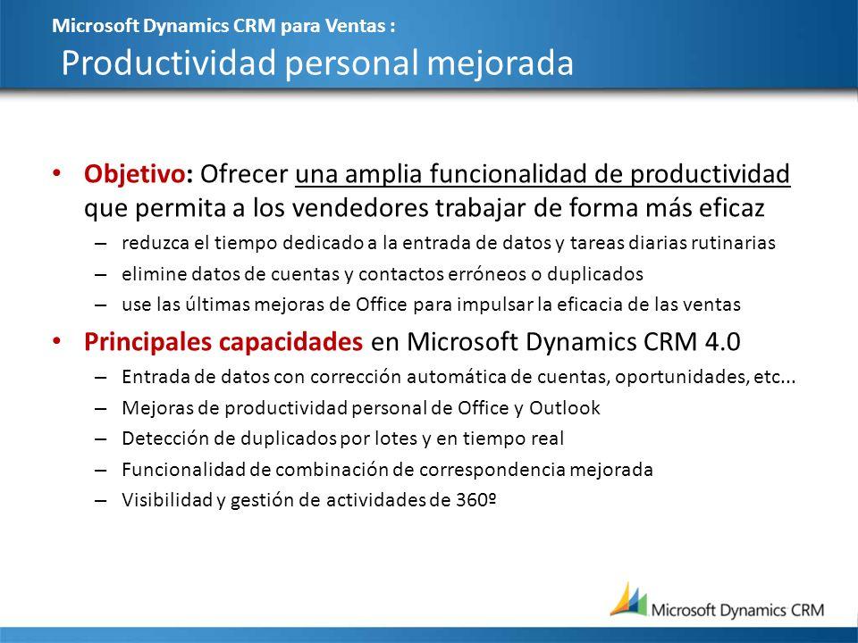 Microsoft Dynamics CRM para Ventas : Productividad personal mejorada