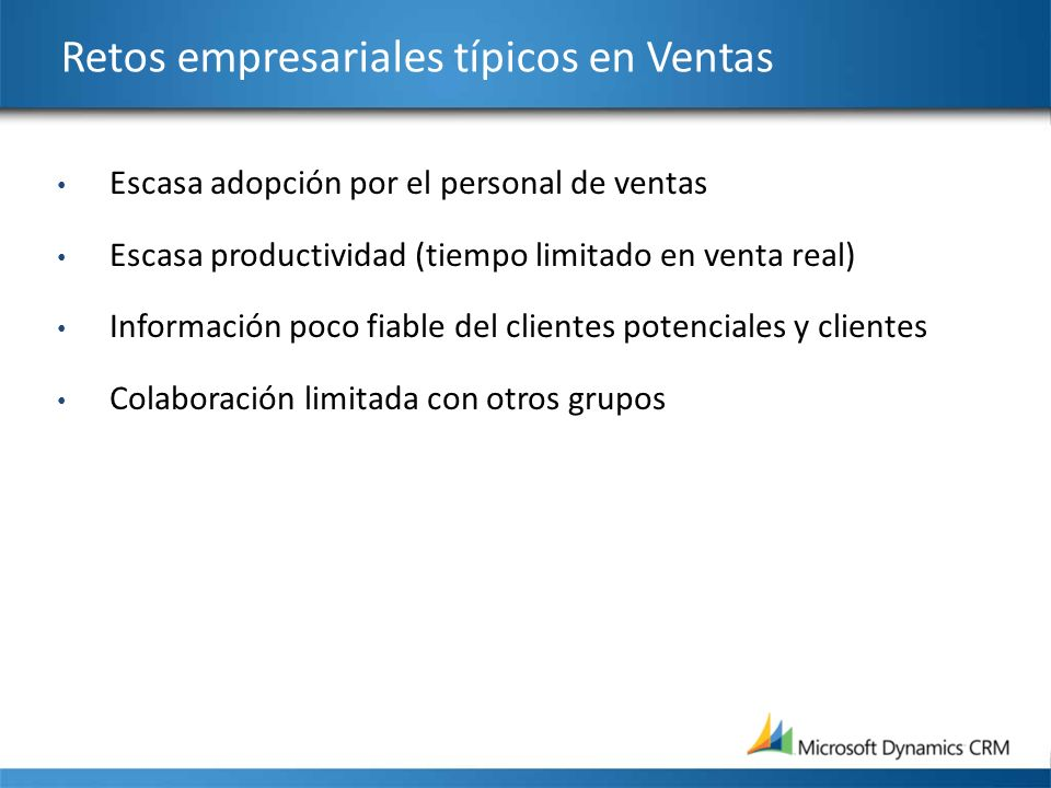 Retos empresariales típicos en Ventas