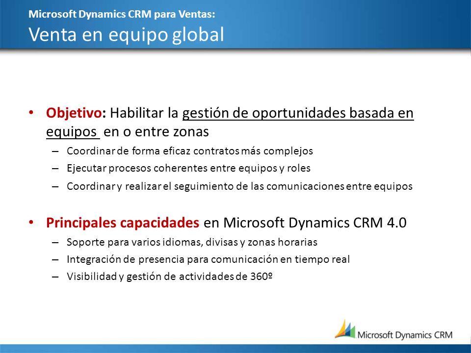Microsoft Dynamics CRM para Ventas: Venta en equipo global