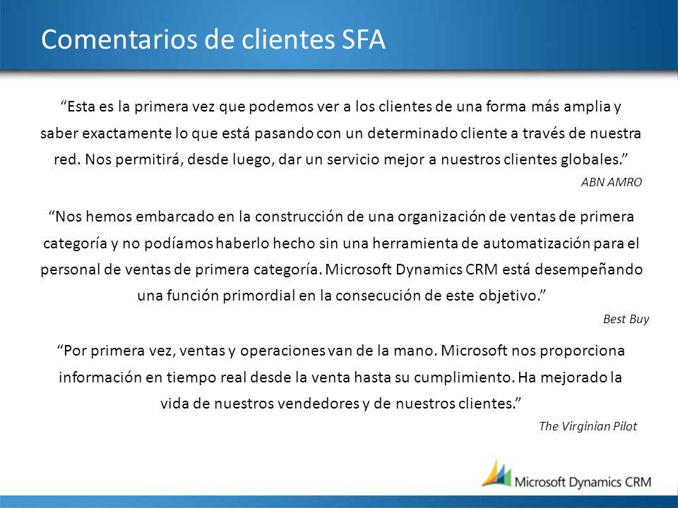 Comentarios de clientes SFA