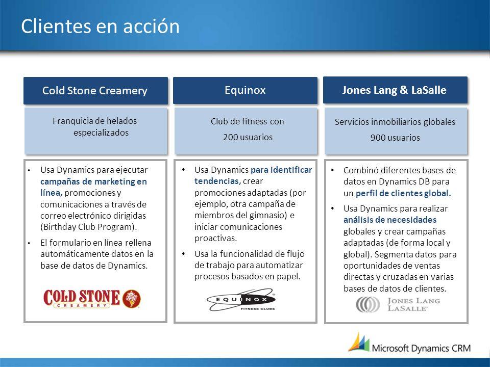 Clientes en acción Cold Stone Creamery Equinox Jones Lang & LaSalle