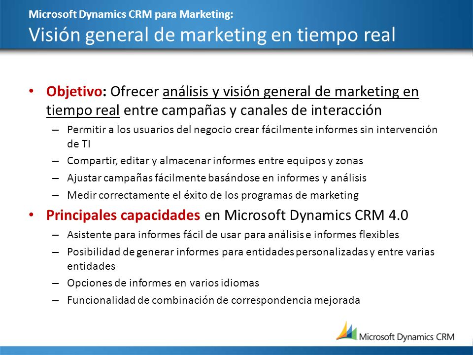 Principales capacidades en Microsoft Dynamics CRM 4.0