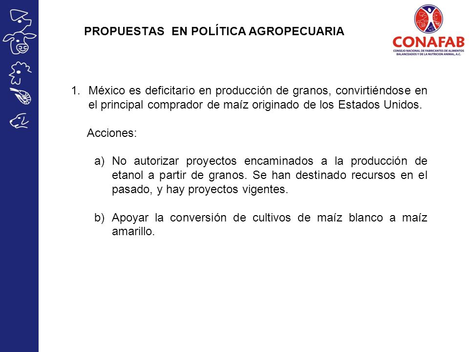 PROPUESTAS EN POLÍTICA AGROPECUARIA