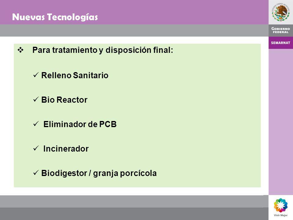 Nuevas Tecnologías Para tratamiento y disposición final: