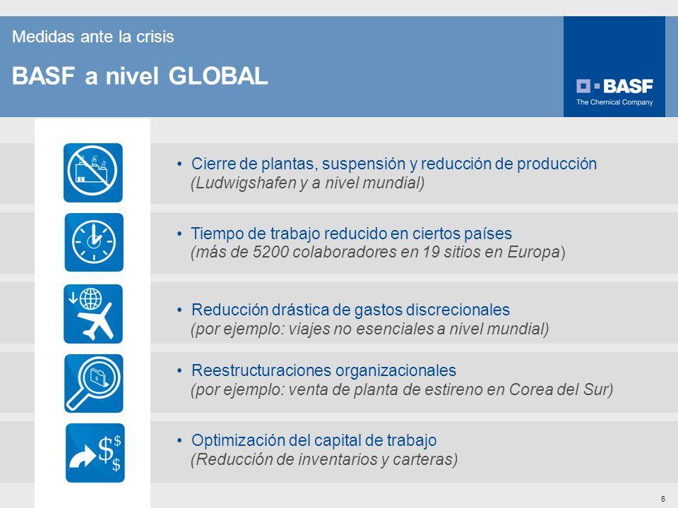 BASF a nivel GLOBAL Medidas ante la crisis