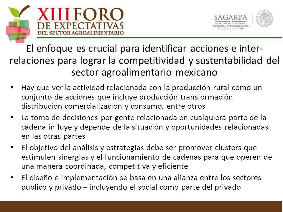 El enfoque es crucial para identificar acciones e inter-relaciones para lograr la competitividad y sustentabilidad del sector agroalimentario mexicano