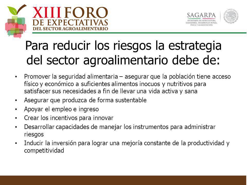 Para reducir los riesgos la estrategia del sector agroalimentario debe de: