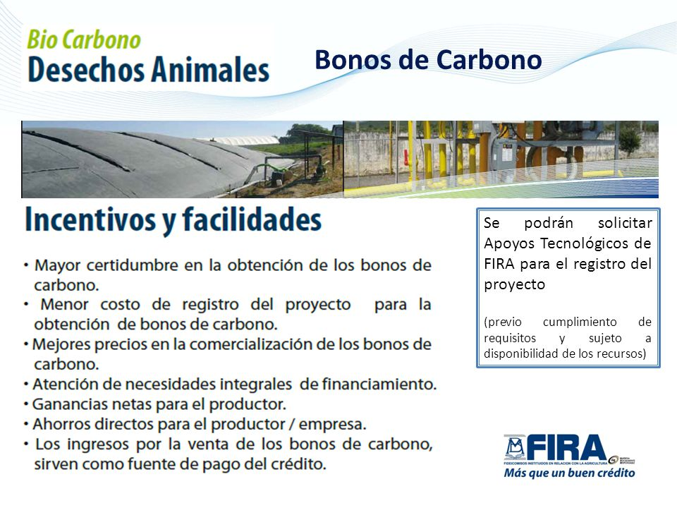 Bonos de Carbono Se podrán solicitar Apoyos Tecnológicos de FIRA para el registro del proyecto.