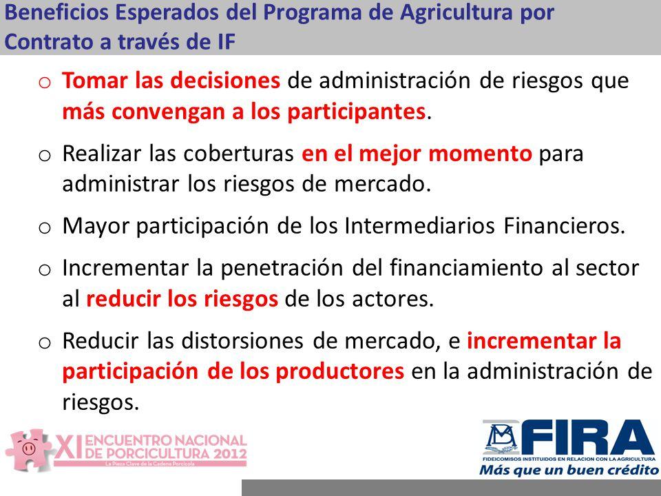 Mayor participación de los Intermediarios Financieros.
