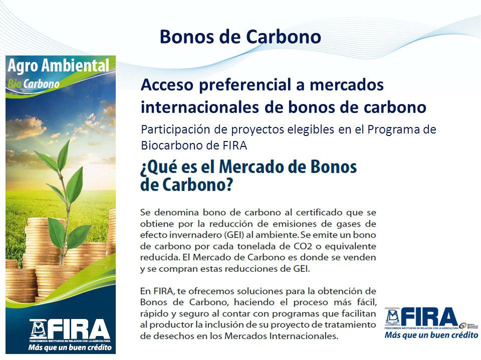 Bonos de Carbono Acceso preferencial a mercados internacionales de bonos de carbono.