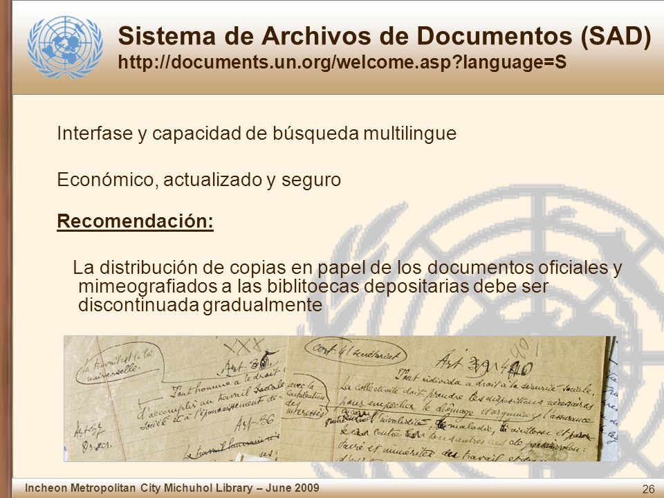 Sistema de Archivos de Documentos (SAD) http://documents. un