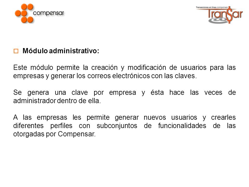 Módulo administrativo: