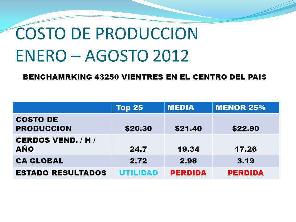 COSTO DE PRODUCCION ENERO – AGOSTO 2012