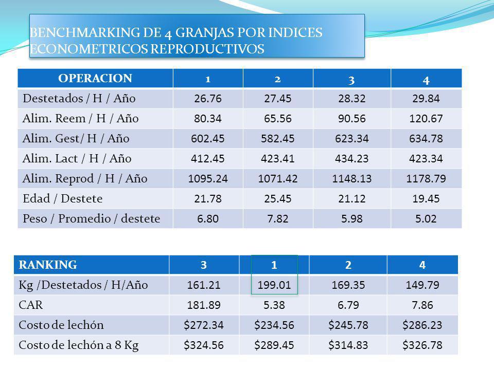 BENCHMARKING DE 4 GRANJAS POR INDICES ECONOMETRICOS REPRODUCTIVOS