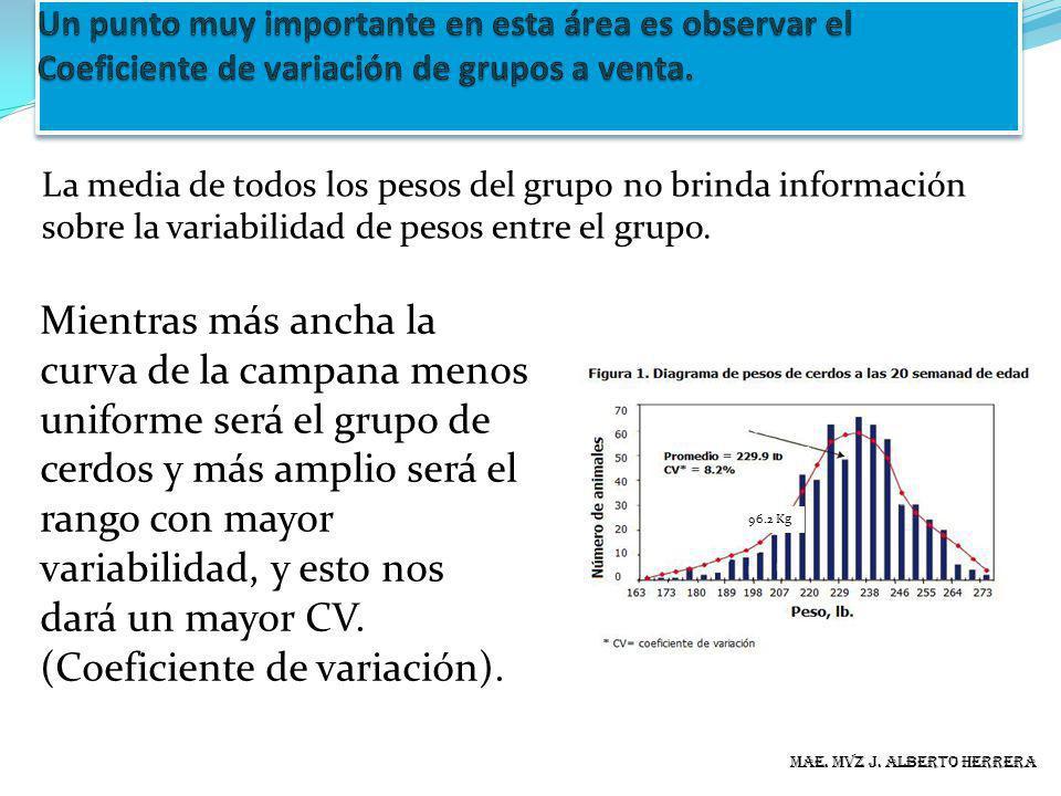 Un punto muy importante en esta área es observar el Coeficiente de variación de grupos a venta.