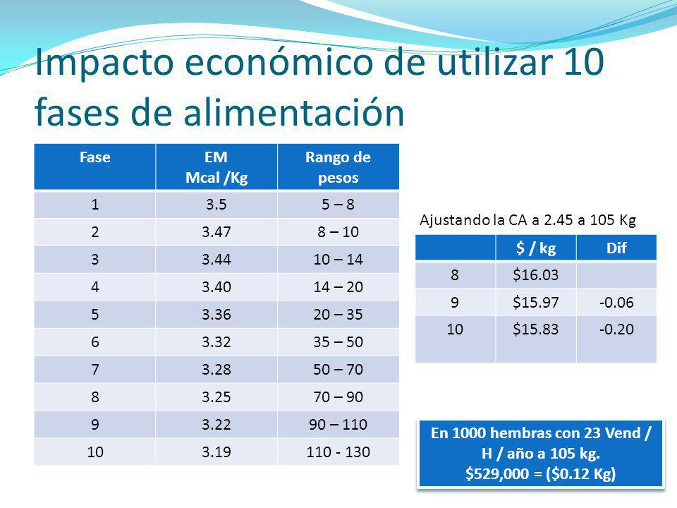 Impacto económico de utilizar 10 fases de alimentación